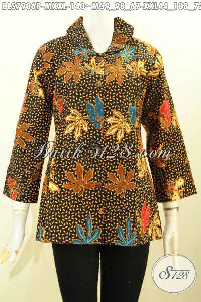 Baju Batik Wanita Modern, Blus Batik Desain  Ofneisel Bagian Krah Dan Lengan, Pakaian Batik Modis Dan Keren Untuk Penampilan Cantik Menawan [BLS7906P-M , XXL]