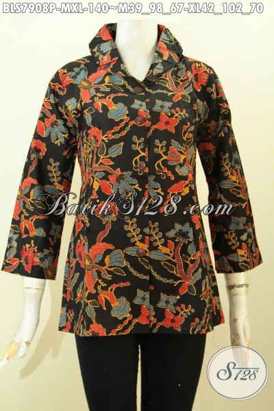 Batik Blus Jawa Tengah Dengan Desain Ofneisel Krah Dan Lengan Yang Bikin Penampilan Cantik Dan Modis, Size M – XL
