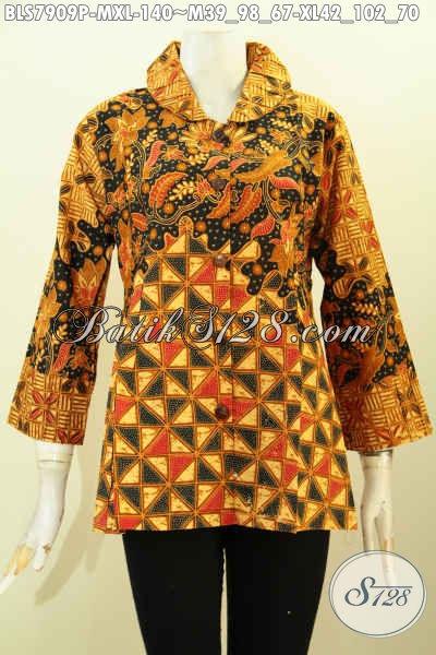Pusat Belanja Batik Online, Jual Pakaian Kerja Wanita Karir Model Ofneisel Bagian Krah Dan Lengan Motif Klasik Printing Hanya 100 Ribuan [BLS7909P-M]