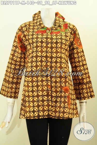 Busana Batik Wanita Model Blus Ofneisel Di Kerah Dan Lengan Dengan Motif Kawung, Buatan Solo Bagus