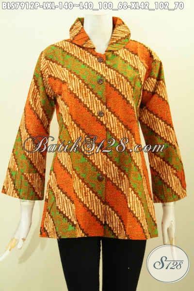 Baju Batik Wanita Trend 2017, Blus Krah Dan Lengan Pakai Ofneisel Motif Klasik Bahan Adem Nyaman Di Pakai Hanya 140K [BLS7912P-XL]