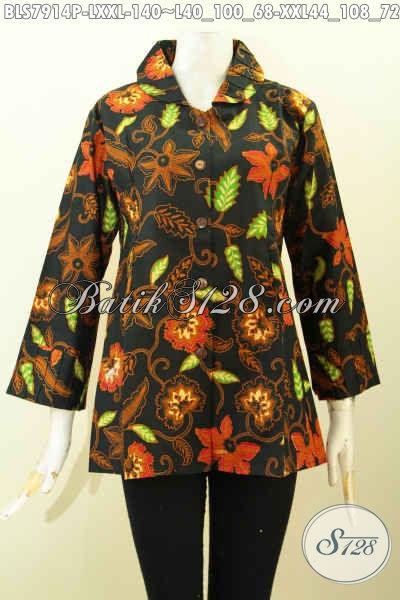 Baju Batik Wanita Terbaik, Hadir Dengan Desain Kekinian Pakain Ofneisel Lengan Dan Krah, Bahan Adem Motif Klasik Printing 100 Ribuan Saja [BLS7914P-L]