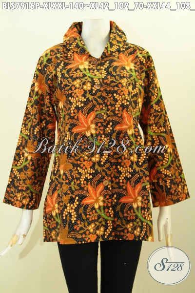 Contoh model baju batik atasan wanita lengan panjang