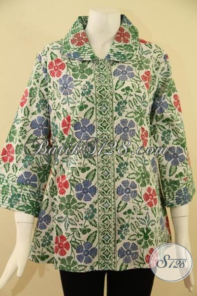 Blus Batik Wanita Modis Model Terkini 2014,Batik Berkrah Kombinasi Benang Besar [BLS791CD-XL]