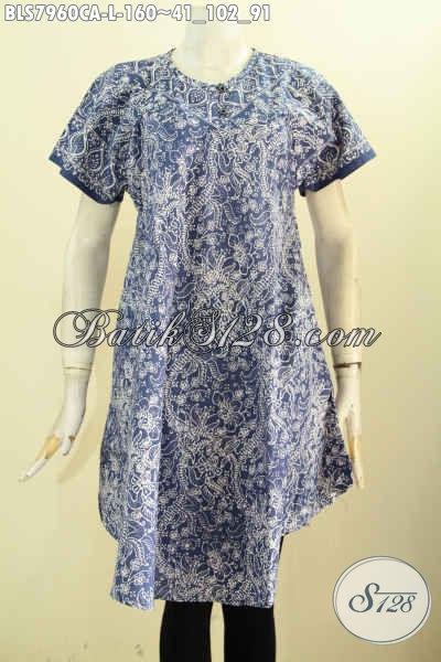 Koleksi Terkini Busana Batik Wanita Trendy, Pakaian Batik Tanpa Krah Dengan Kancing Depan Bahan Halus Motif Unik Cap Warna Alam Harga 160K [BLS7960CA-L]