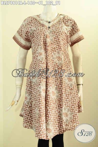 Sedia Pakaian Batik Keren Wanita Modern, Baju Atasan Bahan Batik Model Kancing Depan Tanpa Krah Kwalitas Bagus Hanya 100 Ribuan [BLS7961CA-L]