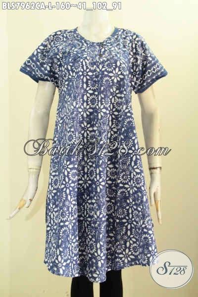 Jual Online Batik Blus Tanpa Krah, Pakaian Batik Atasan Wanita Masa Kini Untuk Tampil Cantik Dan Modis [BLS7962CA-L]