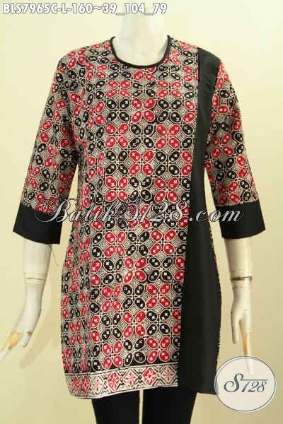 Busana Batik Jawa Terkini, Pakaian Batik Istimewa Buatan Solo Bahan Halus Model Keren Kombinasi Kain Polos, Wanita Terlihat  Anggun, Size L