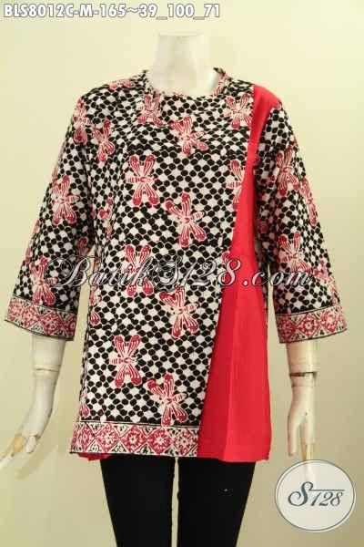 Baju Batik Kombinasi, Blus Batik Wanita Keren, Pakaian Batik Pias Samping Kancing Belakang Kombinasi Kain Polos Harga 165K, Size M