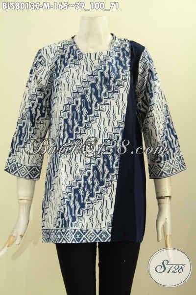 Batik Blus Motif Parang Kombinasi Polos, Baju Batik Proses Cap Desain Pias Samping Pakai Pancing Belakang, Tampil Lebih Keren, Size M