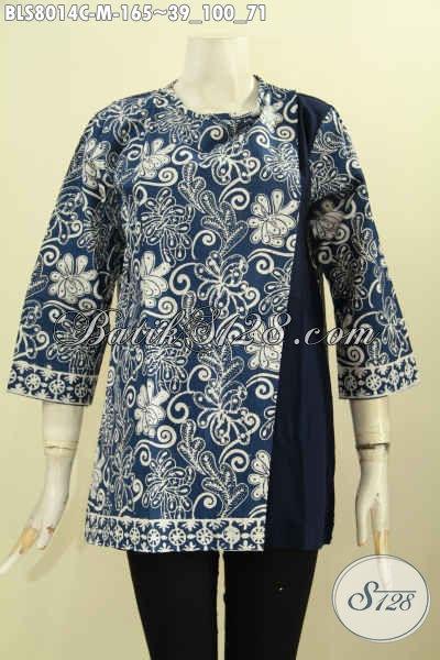 Juragan Baju Batik Solo, Sedia Blus Batik Modern Motif Klasik Kombinasi Kain Polos, Baju Batik Kerja Nan Elegan Desain Pias Samping, Tampil Cantik Dan Anggun, Size M