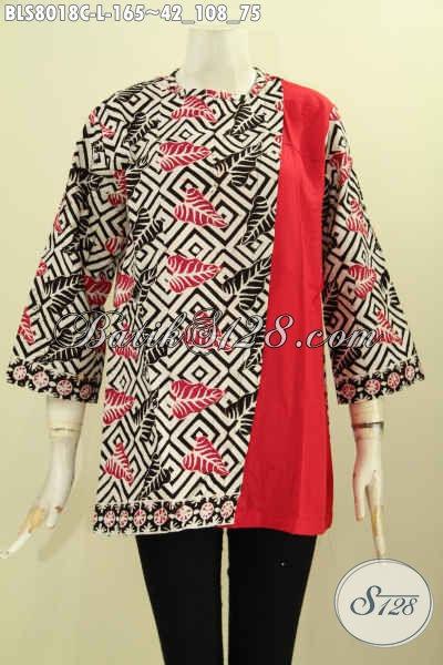 Koleksi Baju Batik Wanita 2017, Blus Pias Samping Kancing Belakang Bahan Halus Motif Klasik Proses Cap, Cocok Buat Ke Kantor, Size L