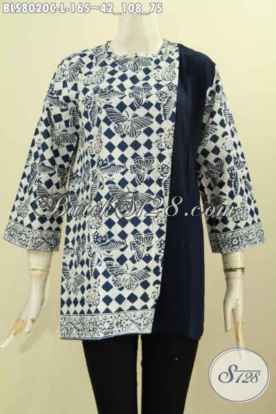 Produk Terkini Blus Batik Wanita Kombinasi Kain Polos, Baju Batik Motif Berkelas Proses Cap Pakai Kancing Belakang, Penampilan Lebih Menawan, Size L