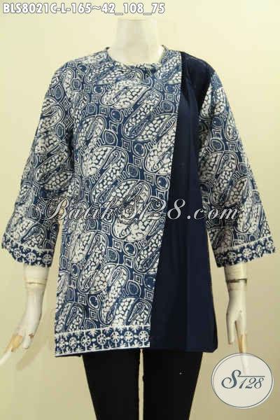 Model Baju Batik Pias Samping Kancing Belakang, Blus Batik Kombinasi Polos Untuk Kerja Dan Pesta Tampil Mempesona, Size L