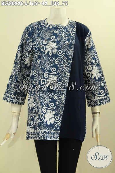 Blus Batik Ukuran L Kwalitas Bagus Motif Kekinian Kombinasi Kain Polos Proses Cap, Asli Buatan Solo Di Lengkapi Kancing Belakang Trend Mode 2017, Size L