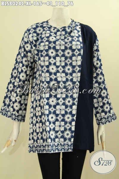 Baju Batik Wanita Dewasa Desain Trendy, Produk Batik Blus Terkini Pakai Pias Dan Kancing Belakang Bahan Halus Kombinasi Polos Motif Keren Harga 165K Proses Cap [BLS8024C-XL]
