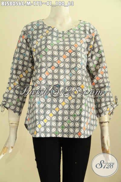 Model Baju Batik Wanita Untuk Kerja, Blus Batik Tanpa Krah Nan Istimewa Proses Cap Dengan Kancing Belakang, Tampil Lebih Trendy, Size M