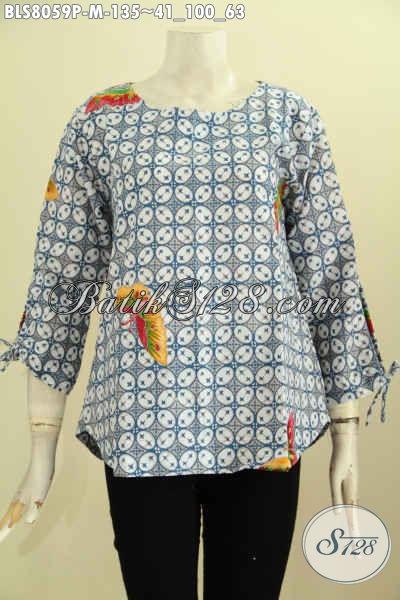 Model Baju Batik Untuk Jalan-Jalan, Pakaian Batik Blus Tanpa Krah Bahan Adem Motif Terkini Dengan Tali Dan Lengan Dan Ujung Bawah, Size M Harga 135K