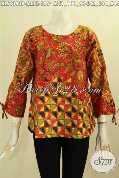 Model Baju Batik Wanita Karir 2017, Hadir Dengan Lengan Bertali Dan Ujung Pakai Lubang, Blus Batik Klasik Printing Tanpa Krah, Tampil Modern Dan Elegan [BLS8060P-M , L , XL]