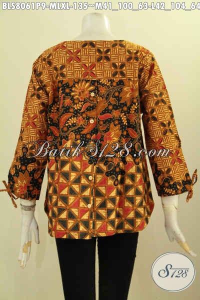 Blus Batik Printing Motif Klasik Dengan Desain Simple Tampil Cantik dan Elegan