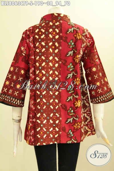 Model Baju Batik Blus Krah Shanghai Warna Merah Nan Mewah, Pakaian Batik Kerja Berkelas Proses Cap Tulis Motif Bagus Banget Dan Kekinian Harga 190K [BLS8063CT-S]