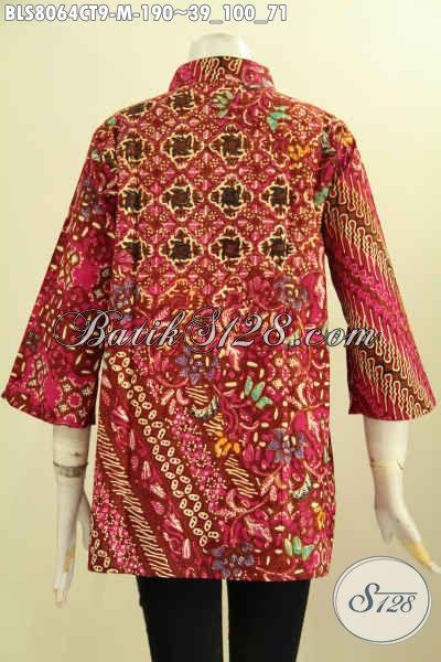 Model Baju Batik Solo Kwalitas Istimewa Dengan Krah Shanghai Nan Elegan, Produk Busana Batik Berkelas, Tampil Cantik Dan Anggun [BLS8064CT-M]