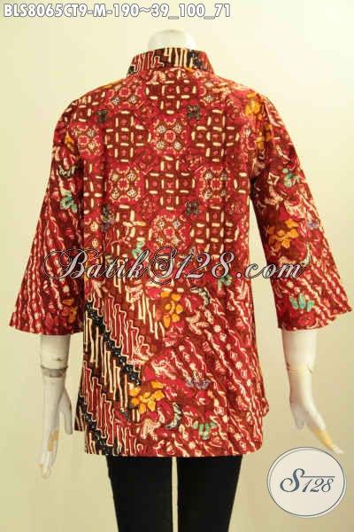 Model Baju Batik Kerja Wanita Karir Terbaru, Hadir Dengan Krah Shanghai Dan Motif Klasik Berkelas, Warna Merah Penampilan Terlihat Wah Proses Cap Tulis [BLS8065CT-M]