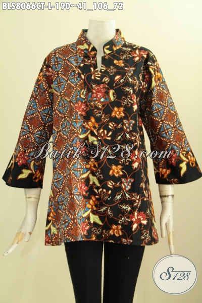 Model Baju Batik Solo Elegan Yang Bikin Wanita Tampil Mempesona, Produk Baju Batik Solo Terkini Krah Shanghai Motif Klasik, Tampil Elegan Dan Mewah, Size L
