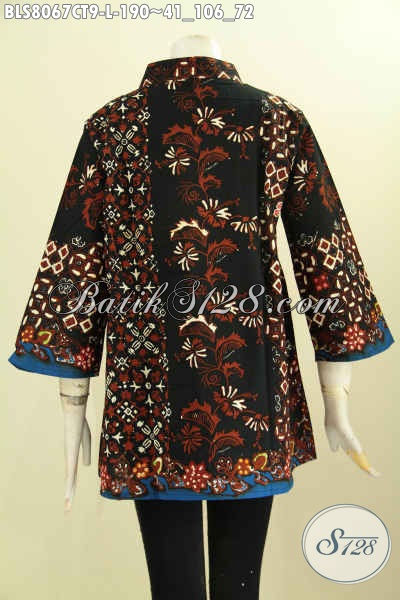 Model Baju Batik Krah Shanghai Dengan Motif Mewah Berkelas Proses Cap Tulis, Blus Batik Solo Untuk Wanita Tampil Gaya Serta Mempesona [BLS8067CT-L]