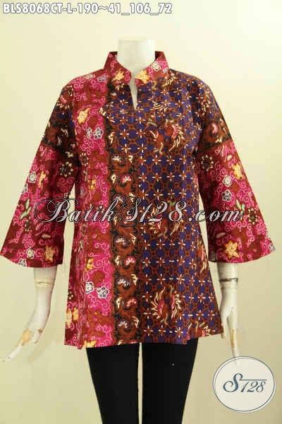 Model Baju Batik Trend Masa Kini, Busana Batik Blus Wanita Krah Shanghai Yang Modis Buat Kerja Dan Acara Resmi Harga 190K [BLS8068CT-L]
