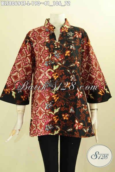 Model Baju Batik Kerja Dengan Krah Shanghai Dan Motif Mewah Berkelas, Produk Pakaian Batik Solo Cap Tulis, Menunjang Penampilan Makin Sempurna [BLS8069CT-L]