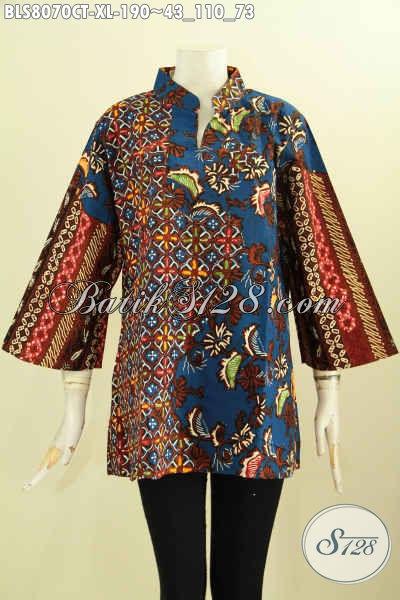 Model Baju Batik Elegan Dan Mewah, Blus Batik Solo Istimewa Proses Cap Tulis Desain Krah Shanghai Motif Klasik, Cocok Untuk Seragam Kerja Kantoran [BLS8070CT-XL]