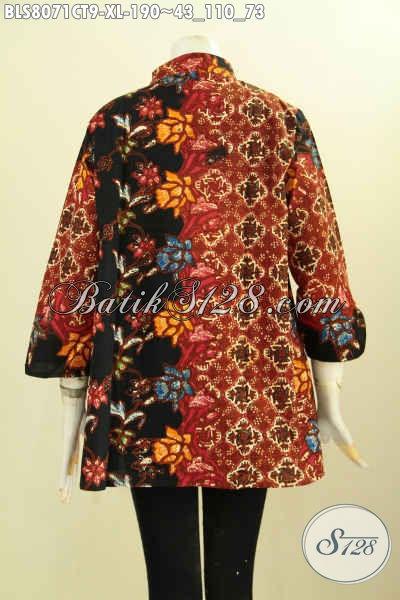 Model Baju Batik Solo Jawa Tengah, Pakaian Batik Elegan Modern Trend Masa Kini Kwalitas Bagus Harga Terjangkau, Size XL