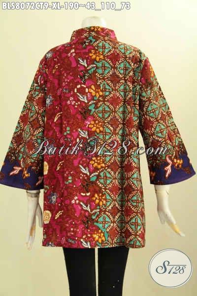 Model Baju Batik Elegan Trend 2017 Buatan Solo Asli, Hadir Dengan Krah Shanghai Motif Klasik Cap Tulis, Di Jual Online 190K, Size XL