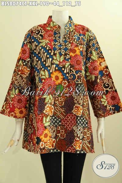 Model Baju Batik Klasik Dengan Krah Shanghai, Busana Batik Elegan Wanita Gemuk Yang Membuat Penampilan Berkelas, Size XXL