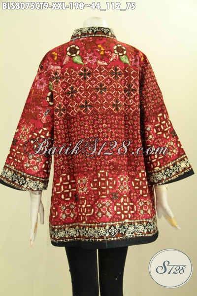 Model Baju Batik Istimewa Untuk Menunjang Penampilan Yang Sempurna, Pakaian Batik Wanita Gemuk Krah Shanghai Ukuran Jumbo, Pas Buat Ke Kantor [BLS8075CT-XXL]