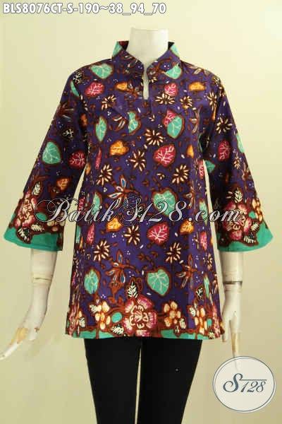 Model Baju Batik Cap Tulis Krah Shanghai, Busana Batik Solo Elegan Motif Unik Kwalitas Bagus Hanya 190K, Size S