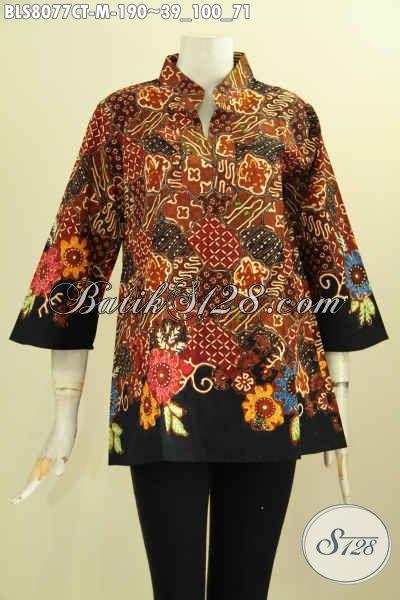 Model Baju Batik Pakaian Kerja Wanita Muda Masa Kini, Blus Batik Krah Shanghai Motif Bagus Proses Cap Tulis Kwalitas Premium Hanay 190K, Size M