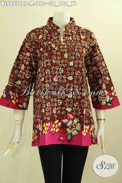 Model Baju Batik Wanita Terbaru, Produk Batik Solo Krah Shanghai Yang Membuat Wanita Terlihat Anggun, Size M