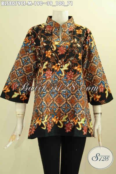 Model Baju Batik Wanita Kantoran Untuk Tampil Cantik Dan Beda, Bahan Adem Motif Bagus Proses Cap Tulis Desain Krah Shanghai, Size M