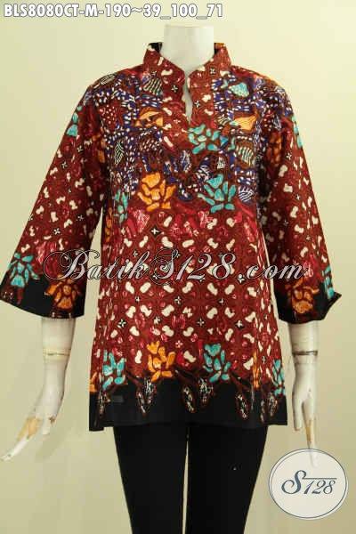 Model Baju Batik Cewek Krah Shanghai Motif Terkini Proses Cap Tulis Kwalitas Premium, Bikin Penampilan Lebih Istimewa, Size M