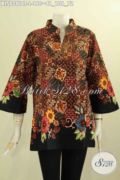Model Baju Batik Wanita Atasan Krah Shangahi Motif Mewah Cap Tulis Bahan Adem Nyaman Buat Kerja, Size L