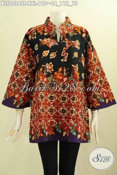 Model Baju Batik Wanita Yang Membuat Penampilan Cantik Mempesona, Bahan Halus Krah Shanghai Motif Mewah Cap Tulis, Spesial Untuk Berbadan Gemuk [BLS8084CT-XXL]