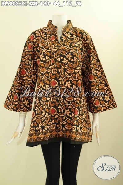 Model Baju Batik Cewek Terbaru, Blus Batik Elegan Masa Kini Kwalitas Premium Bahan Adem, Tampil Mempesona, Size XXL