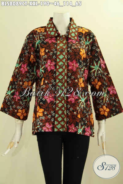 Model Pakaian Batik Wanita Krah Lancip, Blus Batik Seragam Kerja Wanita Karir, Penampilan Lebih Sempurna, Size XXL