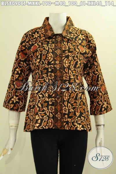 Model Baju Batik Wanita Kantoran, Aneka Blus Batik Model Krah Lancip Bahan Halus Motif Bagus Cap Tulis, Di Jual Online 190 Ribu [BLS8090CT-XXL]