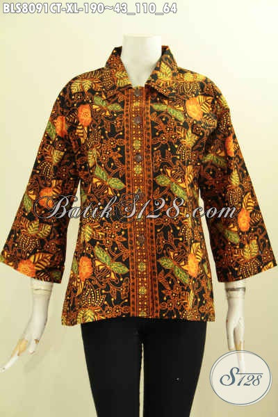 Model Baju Batik Wanita Untuk Acara Resmi, Blus Krah Lancip Kwalitas Istimewa Motif Bagus Proses Cap Tulis Hanya 190 Ribu, Size XL