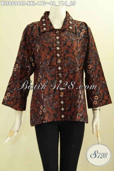 Model Baju Batik Perempuan Terbaru, Blus Batik Elegan Dengan Krah Shanghai Kwalitas Bagus Harga 100 Ribuan, Size XXL