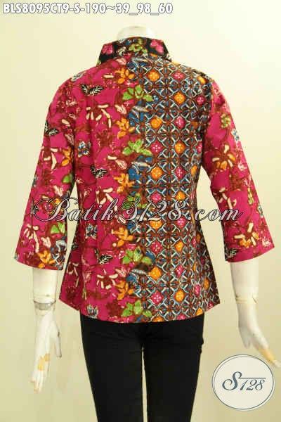 Model Baju Batik Kombinasi, Busana Batik Blouse Dual Motif Proses Cap Tulis Kwalitas Istimewa Dengan Krah Lancip Harga 190K [BLS8095CT-S]