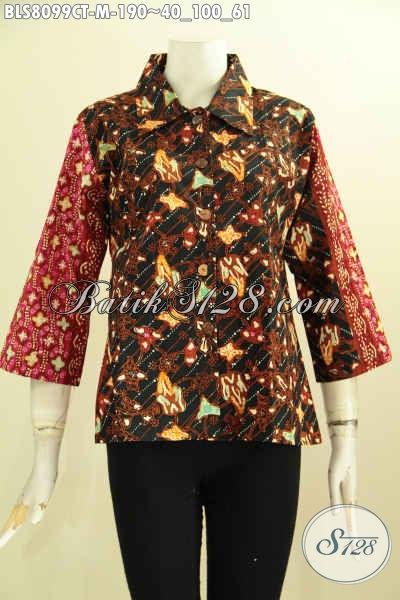 Model Baju Batik Untuk Wanita Muda, Blus Krah Lancip Nan Modis Dengan Motif Kombinasi Terlihat Mewah Dan Berkelas [BLS8099CT-M]